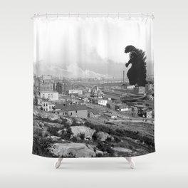 Old Time Godzilla Shower Curtain