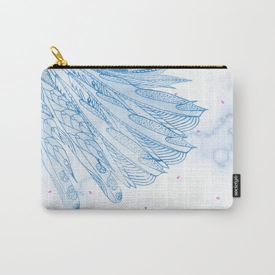 Beautiful Feathers on Blue Marble Design Carry-All Pouch