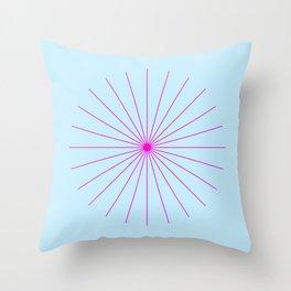 SpikeyBurst - Pastel Blue with Bright Pink Throw Pillow