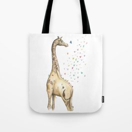 Young Giraffe with Butterflies Tote Bag