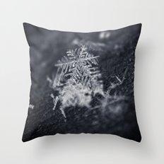 Macro Snowflake Throw Pillow