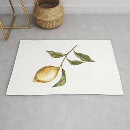 Lemon Decor, Lemon Decoration, Rustic Painting, Lemon Watercolor Rug