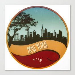 New York City Skyline NYC Retro Vintage Design  Description Canvas Print