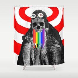 Rainbow Skull Pilot Shower Curtain
