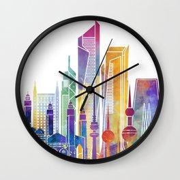 Kuwait city landmarks watercolor poster Wall Clock