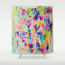 Bright, Neon, Colorful Abstract Painting  Shower Curtain