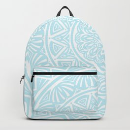 Light Sky Blue Aqua Simple Simplistic Mandala Design Ethnic Tribal Pattern Backpack