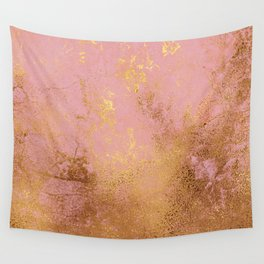 Modern Pink-Blush Marble With Gold & Rose Gold Wall Tapestry