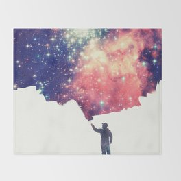 Painting the universe (Colorful Negative Space Art) Throw Blanket
