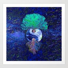Tree of Life Yin Yang Earth Space Art Print
