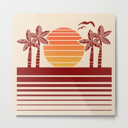 Retro Tropical Ocean Sunset 535 Metal Print