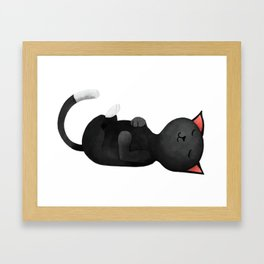 Five more minutes cat Framed Art Print