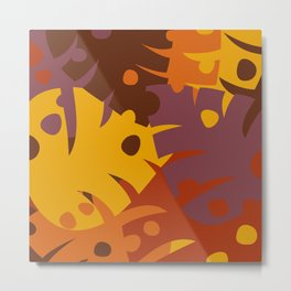 Colorful Graphic Autumn Leaves Metal Print