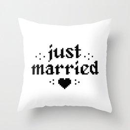 just married couple wedding gift pixel heart Throw Pillow