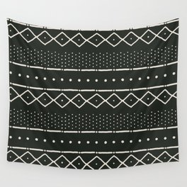 Mudcloth in bone on black Wall Tapestry