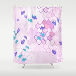 Pink Honey Comb Shower Curtain