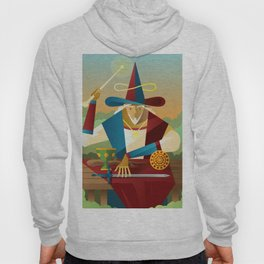 magician juggler with cup, wooden staff, sword and gold tarot card Hoody
