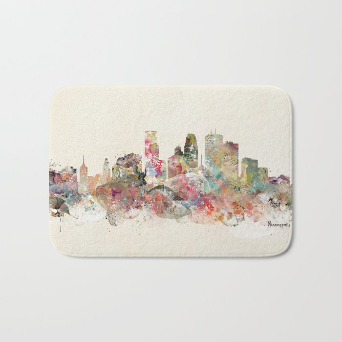 minneapolis city skyline Bath Mat