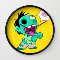 zombie Wall Clocks featuring zombie by Melissa Ballesteros Parada
