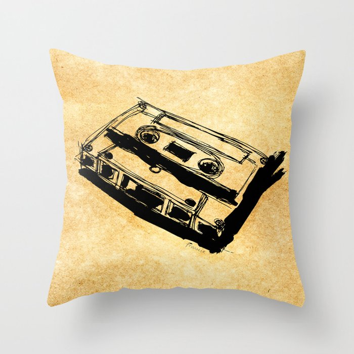 Retro Cassette Tape Throw Pillow