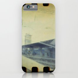 Double Exposure Lomography of railway and railway Station iPhone Case