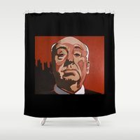 hitchcock Shower Curtains featuring alfred hitchcock by Jonny Moochie