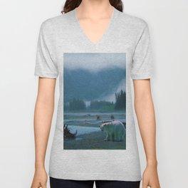 Great Spirit Bear and Misty River Unisex V-Neck
