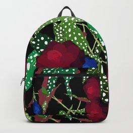 Moody Begonia Floral in Midnight Black Backpack