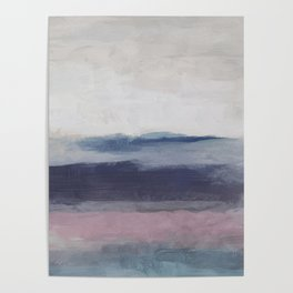 Plum Purple Navy Lavender Blue Abstract Painting Wall Art Prints, Ocean Waves Horizon, Modern Wall Poster