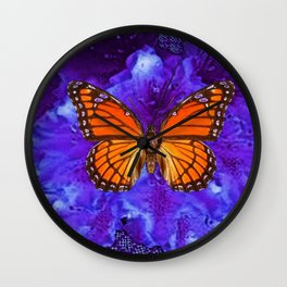 Orange Monarch Butterfly On Ultra-violet Wall Clock