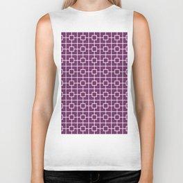Byzantium Purple Square Chain Pattern Biker Tank
