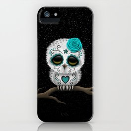 Adorable Teal Blue Day of the Dead Sugar Skull Owl iPhone Case
