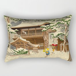 Asano Takeji Snow In Yuki Shrine Vintage Japanese Woodblock Print East Asian Beautiful Art Rectangular Pillow