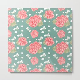 Sweet Carnation Flower Seamless Pattern Metal Print