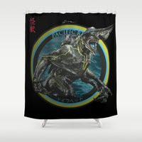 pacific rim Shower Curtains featuring Knifehead - Pacific Rim by Leamartes