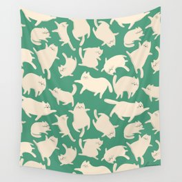 White Cats Pattern Wall Tapestry