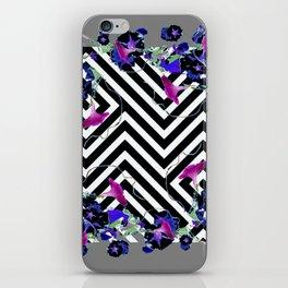 Geometric  black-White Morning Glories Grey Pattern Garden  Art iPhone Skin