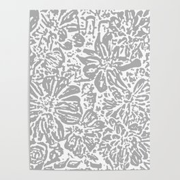 Marigold Lino Cut, Cloud Grey Poster