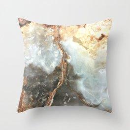 Golden Grey Marble Throw Pillow