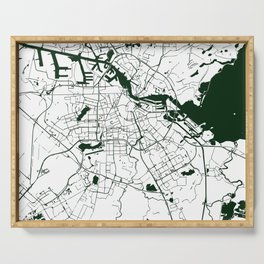 Amsterdam White on Green Street Map Serving Tray