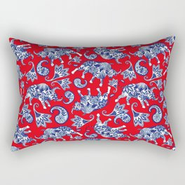 Ox Paisley (Blue and Red Palette) Rectangular Pillow