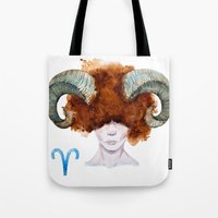 aries Tote Bags featuring Aries by Aloke Design