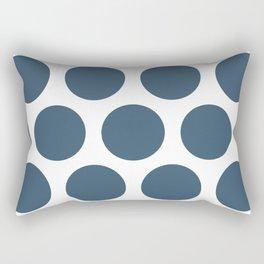 Dusky Blue Large Polka Dots Rectangular Pillow