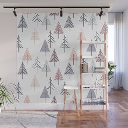 Winter geometrical pink lilac geometric trees Wall Mural