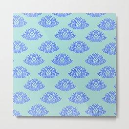 Lotus Pattern Blue Metal Print