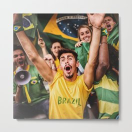 brazilian supporters cheering at the stadium for the world cup Metal Print