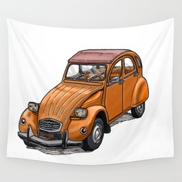 Orange 2CV Wall Tapestry
