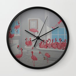 Flamingos In the Bathroom Wall Clock