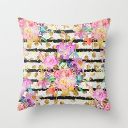 Elegant spring flowers and stripes design Throw Pillow