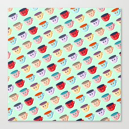 Cute smiling mugs pattern Canvas Print
